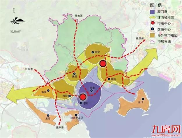 """厦门""""十三五""""城市空间结构规划图:一岛一带多中心"""
